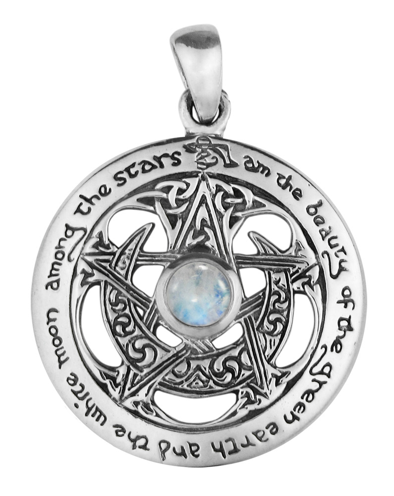 Sterling silver large cut moon pentacle pentagram pendant for The sterling