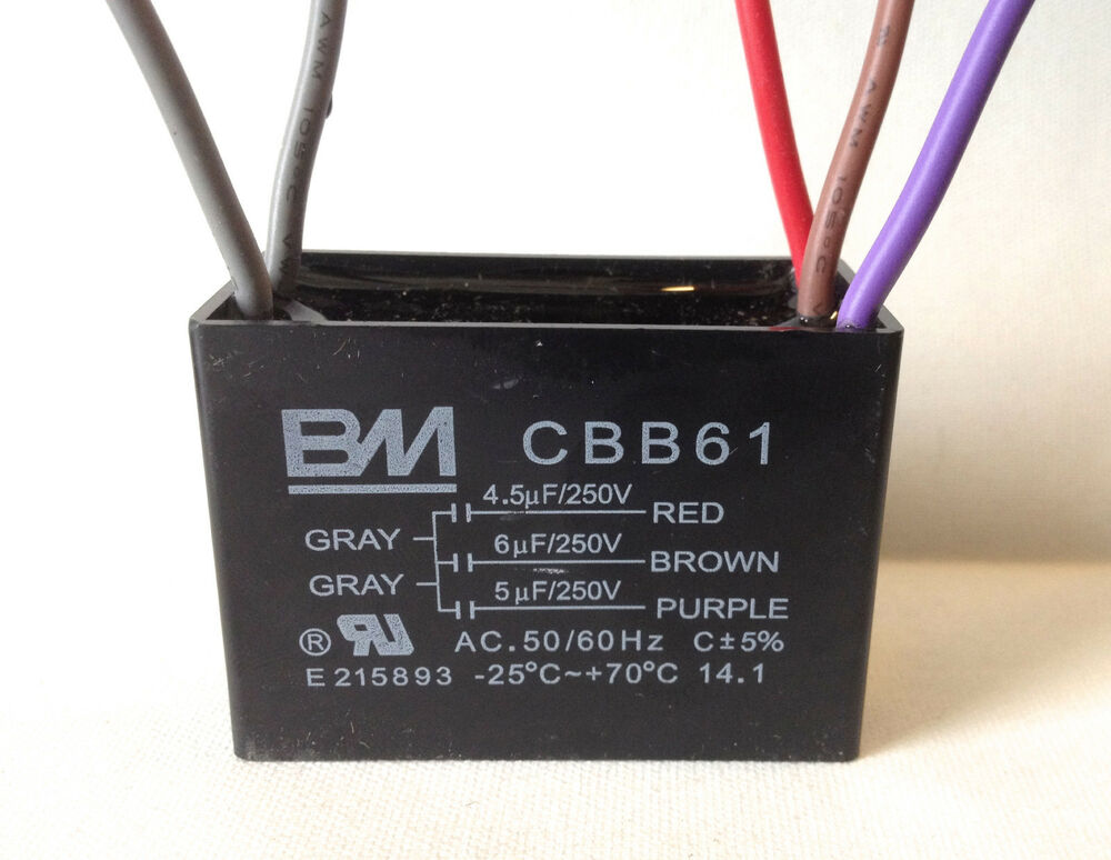 BM CEILING FAN CAPACITOR CBB61 45uf 6uf 5uf 5WIRE Genuine