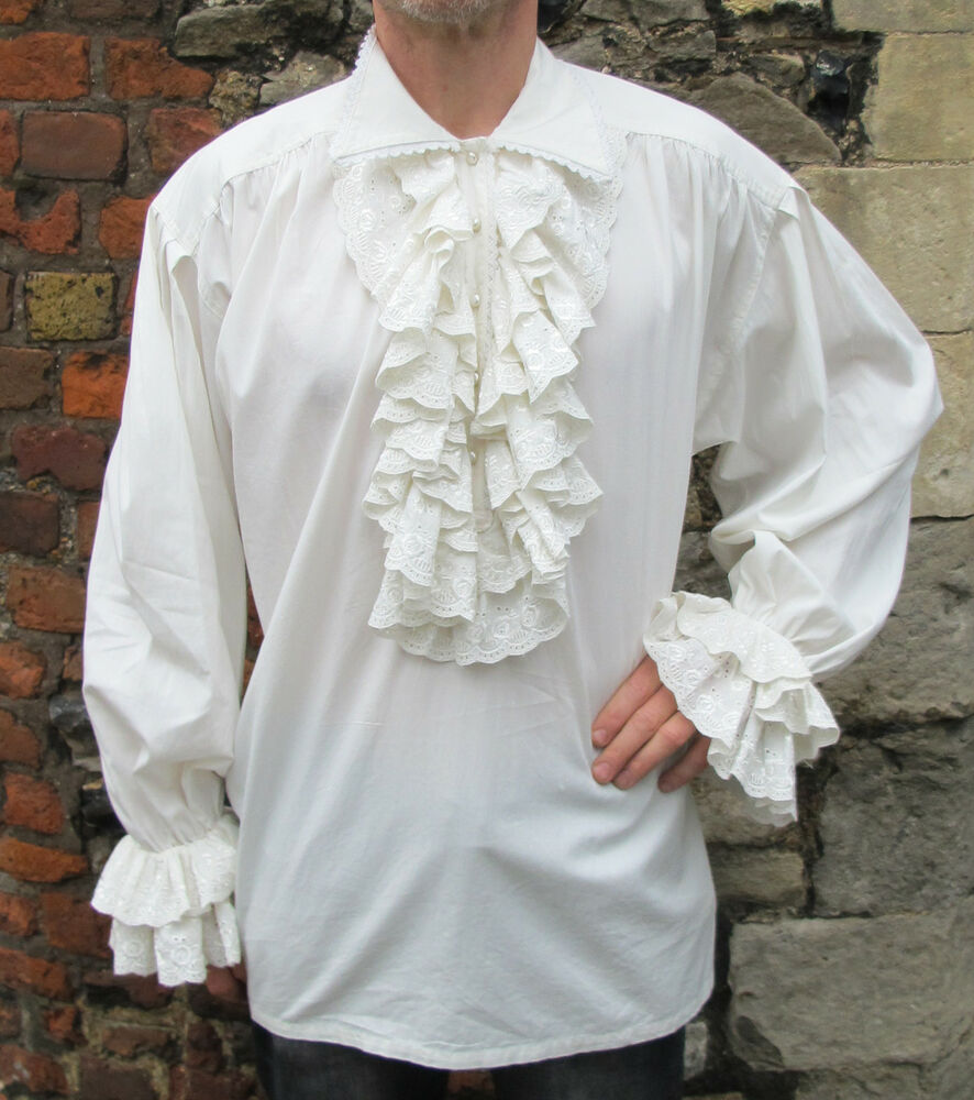 Mens white ruffle frill lace pirate vampire dress dinner for Where to buy dress shirts