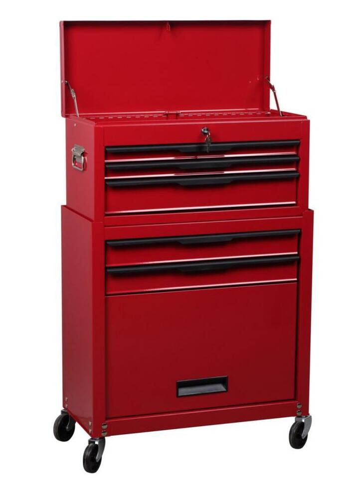 hilka tool cabinet 5 drawers with storage compartment mobile tool trolley chest ebay. Black Bedroom Furniture Sets. Home Design Ideas