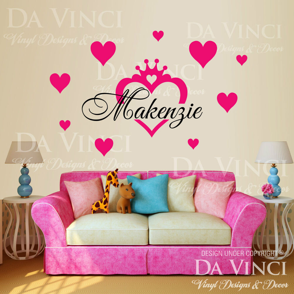 personalized custom name crown princess heart vinyl wall decal sticker