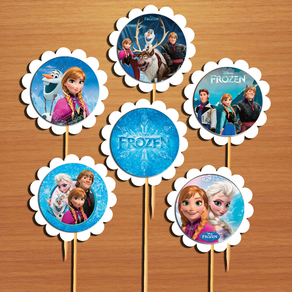 Disney Frozen Cupcake Toppers/Cake Picks (x 6) Table/Food ...