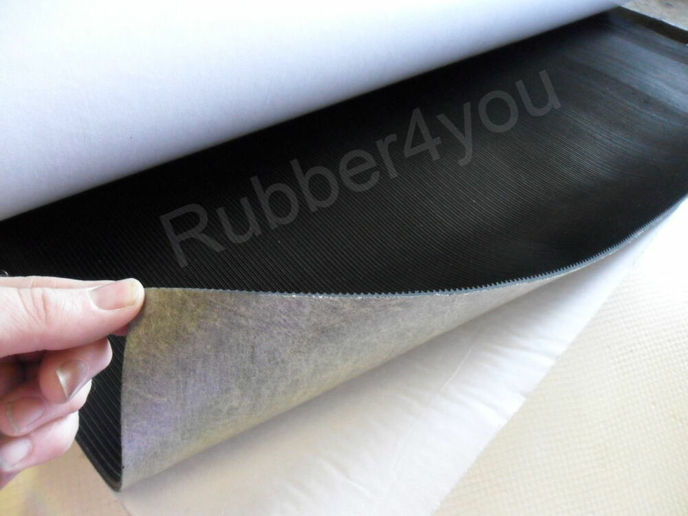 SELF ADHESIVE Black Fine Ribbed Corrugated Rubber Sheet