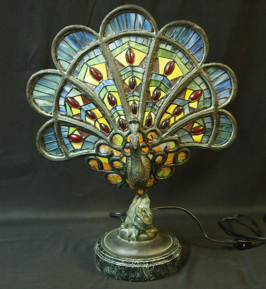 Custom Glass Peacock Lamp, Tiffany Style, Extremely ...