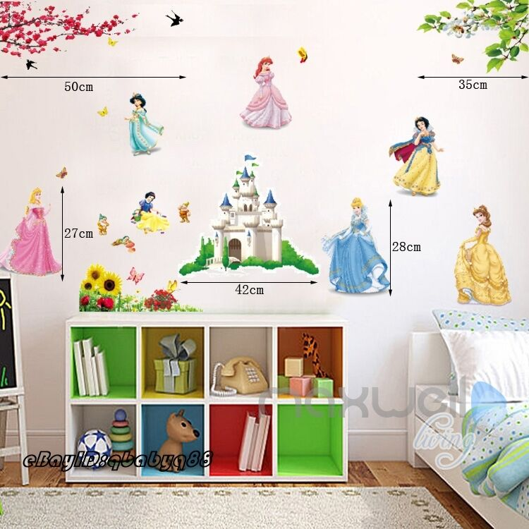 Disney princess girls castle wall stickers vinyl decal for Disney princess wall mural stickers