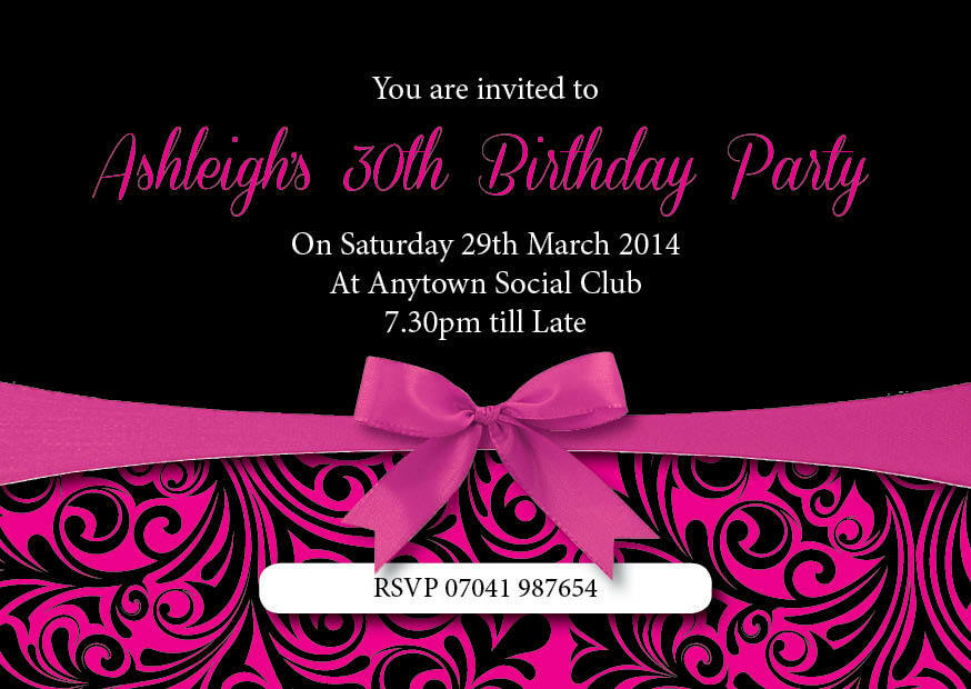 Birthday invitations 18th 21st 30th Pink Ribbon black inc ...