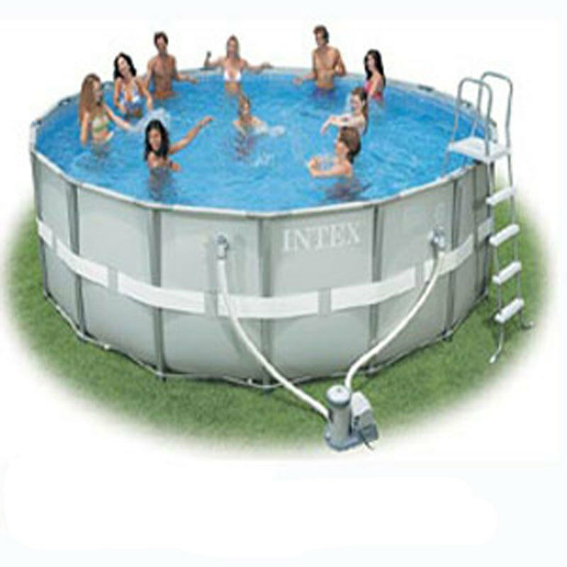 Intex 16 39 x48 round ultra frame above ground swimming pool for Above ground pool packages cheap