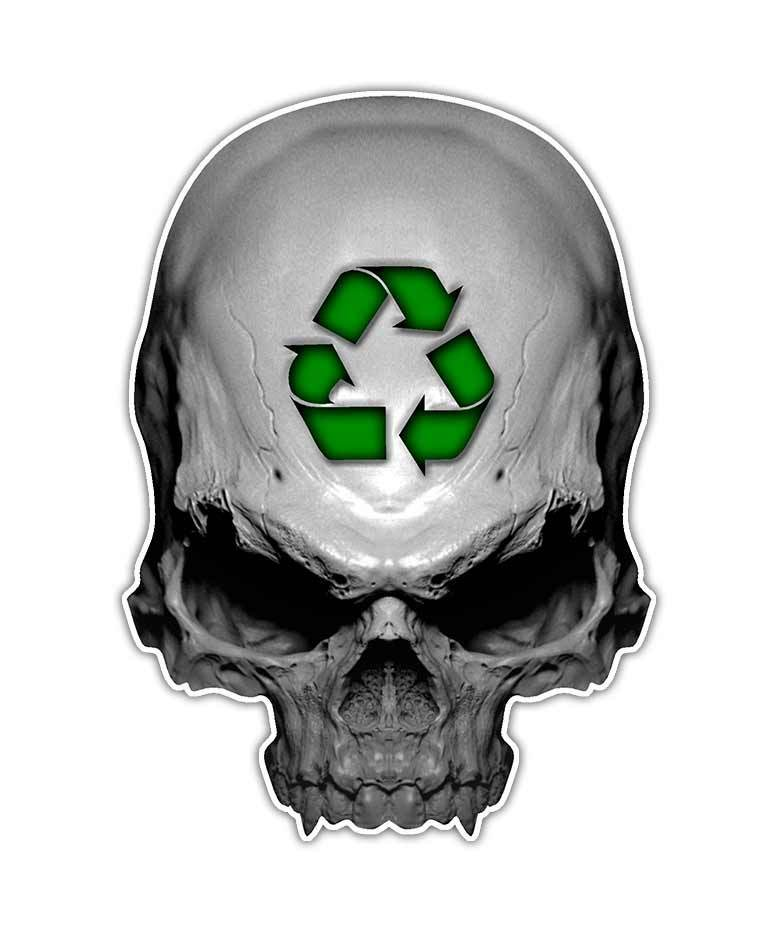 Recycle skull decal green earth skull sticker environment graphic ebay