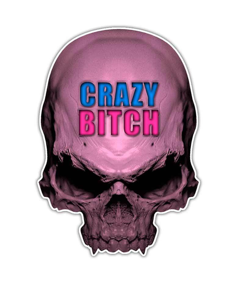 Girl Skull Decal Crazy Bitch Skull Sticker Pink Graphic