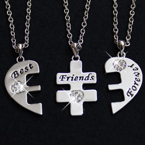 Details About Three Best Friends Necklace Rrp 49 Bestfriends 4 Life Crystal Heart Pendant Cute