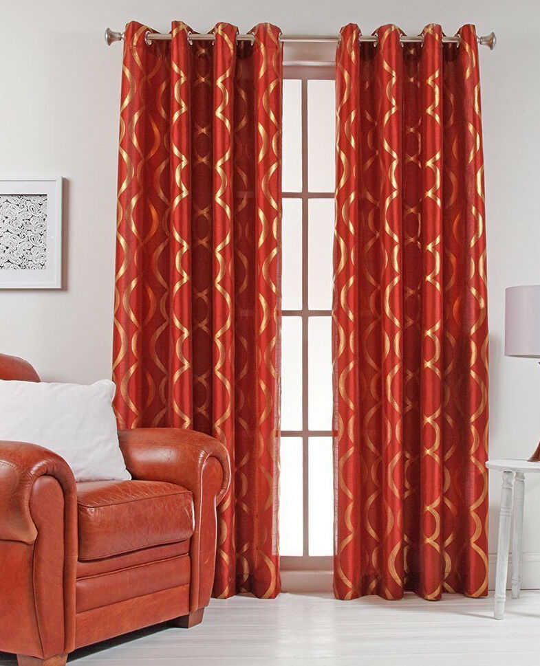 "Lafayette 56"" x 84"" Faux Silk Metallic Print Grommet Panel Rust Color ..."
