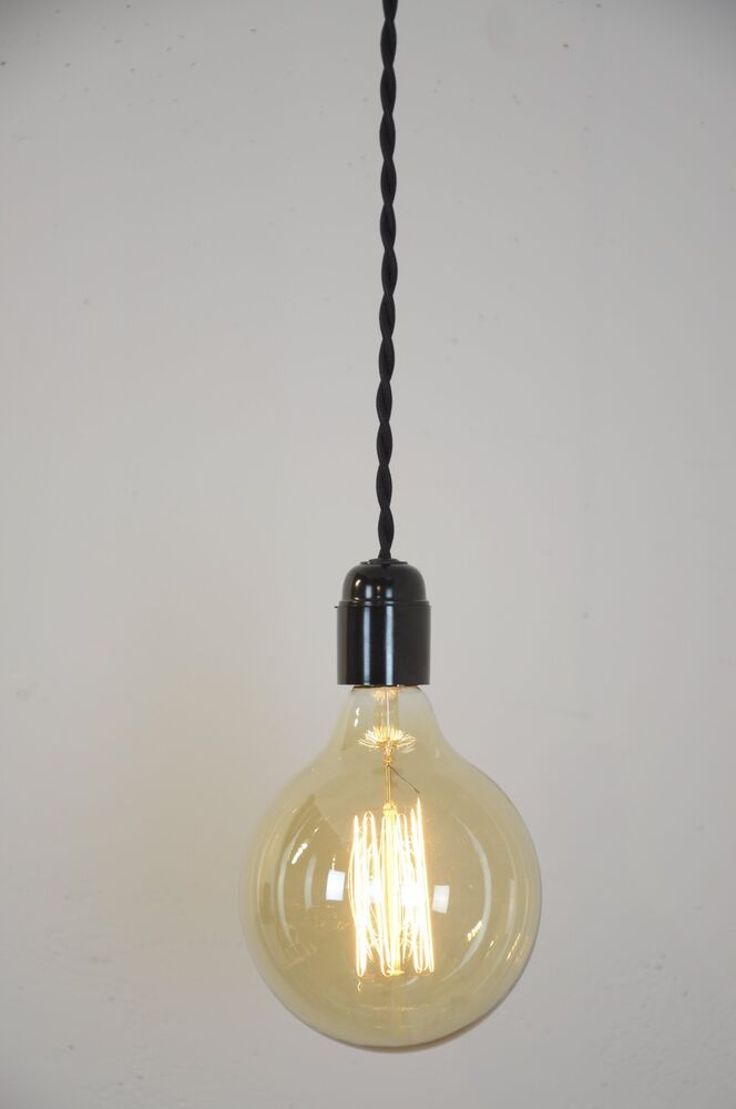 pendant light black twisted cloth covered cord wire hanging lamp modern ebay. Black Bedroom Furniture Sets. Home Design Ideas