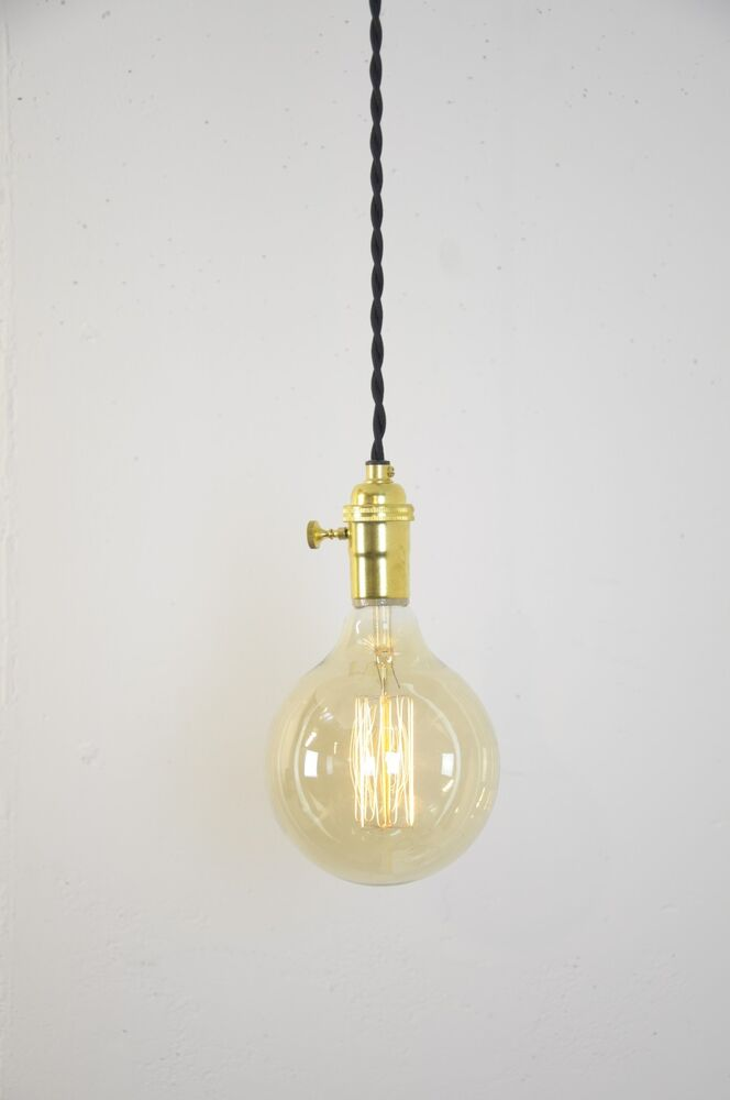 turn knob pendant light fixture hanging plug in canopy vintage ebay. Black Bedroom Furniture Sets. Home Design Ideas