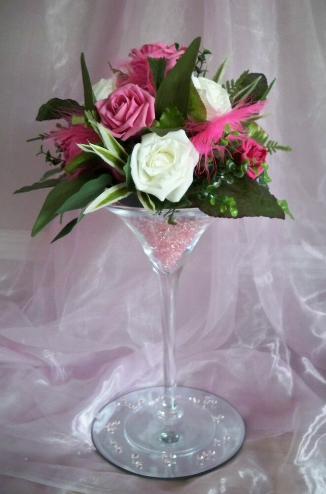For hire martini glass vase centrepiece wedding party