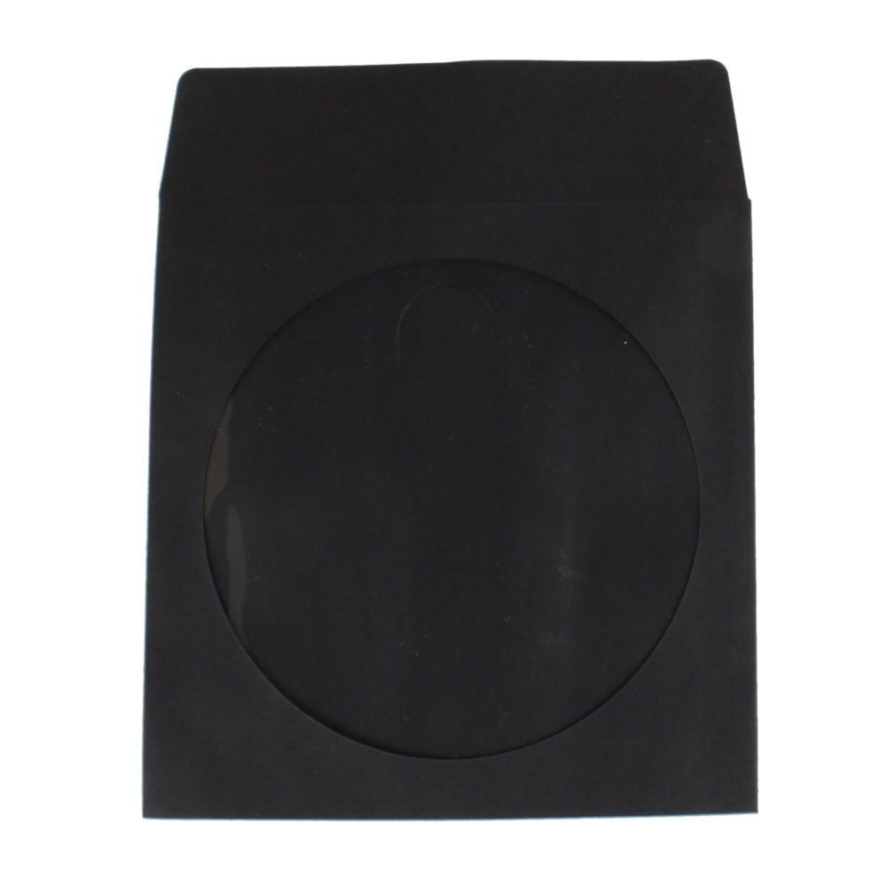 New 100 black cd dvd paper sleeve envelope with window and for 100 paper cd sleeves with window flap