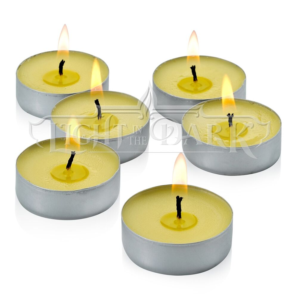 Set Of 60 Citronella Summer Yellow Tealight Candles Ebay