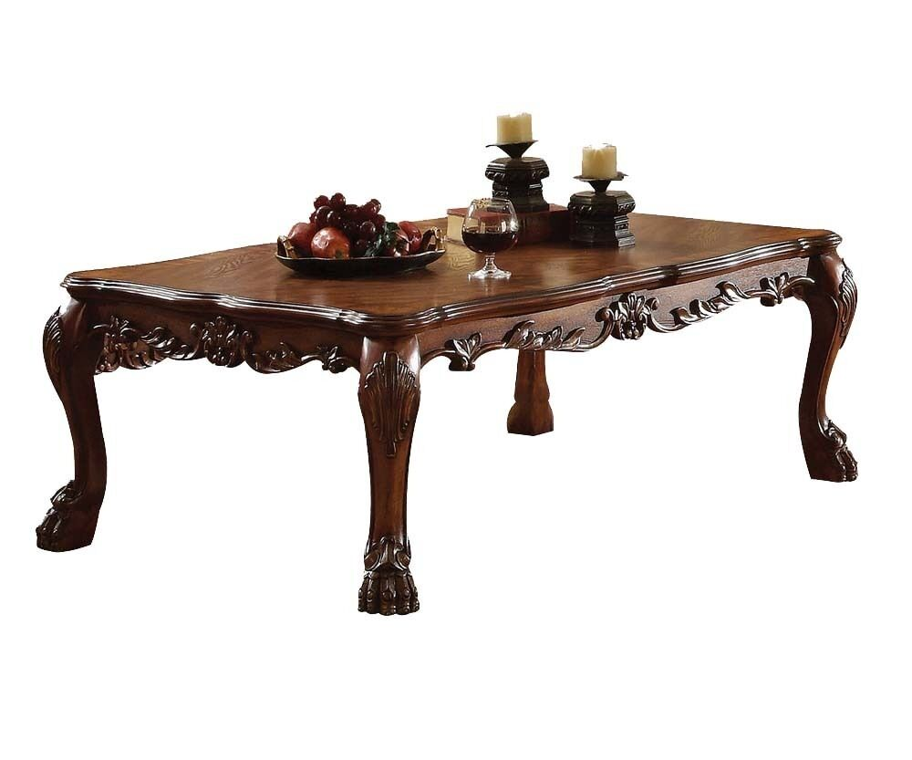 dresden traditional cherry oak wood claw foot carving occasional coffee table ebay. Black Bedroom Furniture Sets. Home Design Ideas