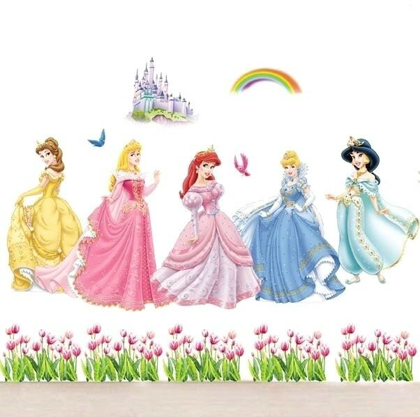 Disney princess castle large wall sticker decal nursery for Disney princess wall mural tesco