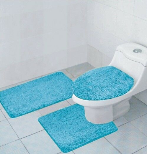 3 PCS BATHROOM RUG, CONTOUR RUG AND LID COVER SET, HAILEY