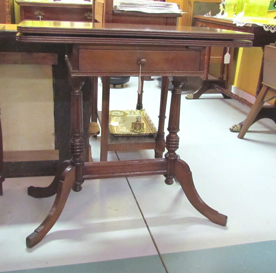 Duncan Storage Coffee Table: Antique Mahogany Game Table, 1 Drawer, Duncan Phyfe