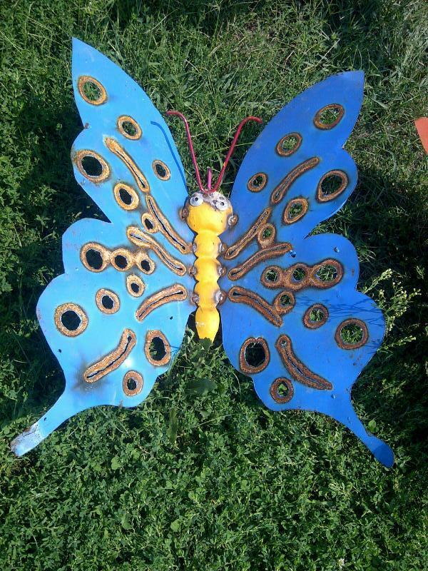 24 recycled metal small butterfly wall decor yard for Outdoor butterfly ornaments