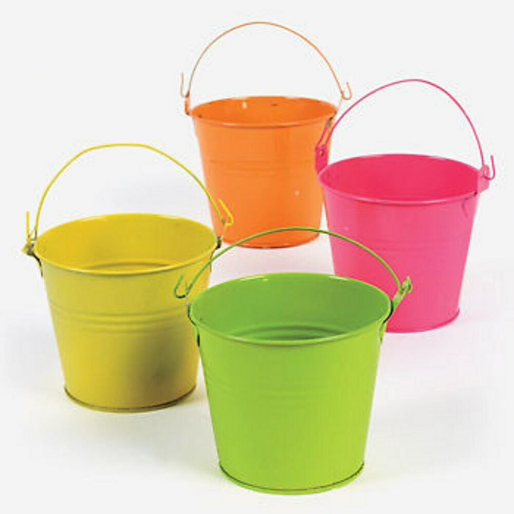 neon assorted colored tin pails buckets new lot of 12