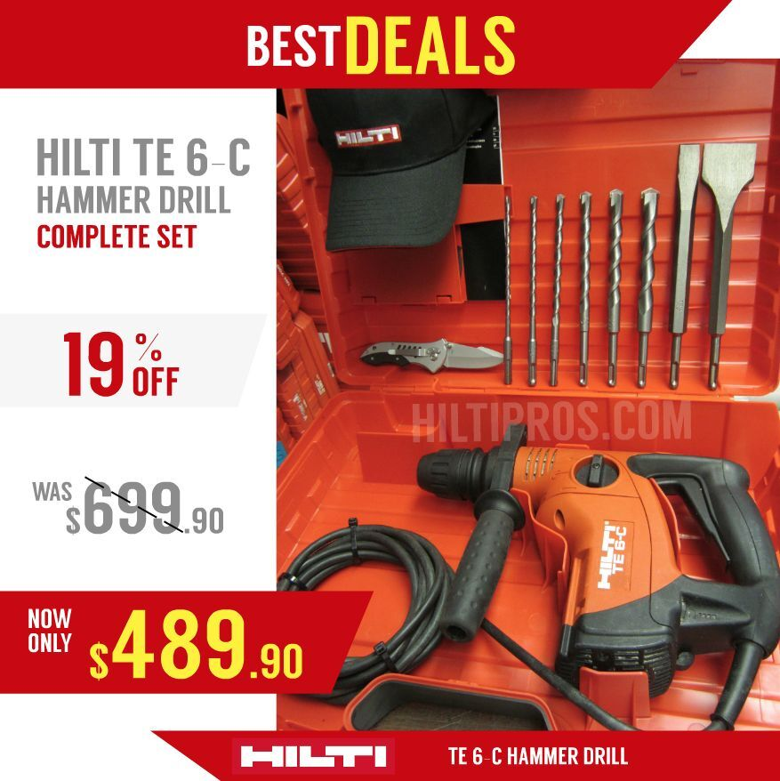 hilti te 6 c hammer drill new made in europe free bits chisels fast ship ebay. Black Bedroom Furniture Sets. Home Design Ideas