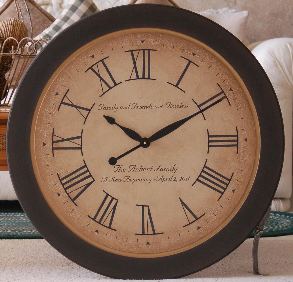 Large wall clock 30quot wood antique style custom tuscan big for Large wooden wall clocks australia