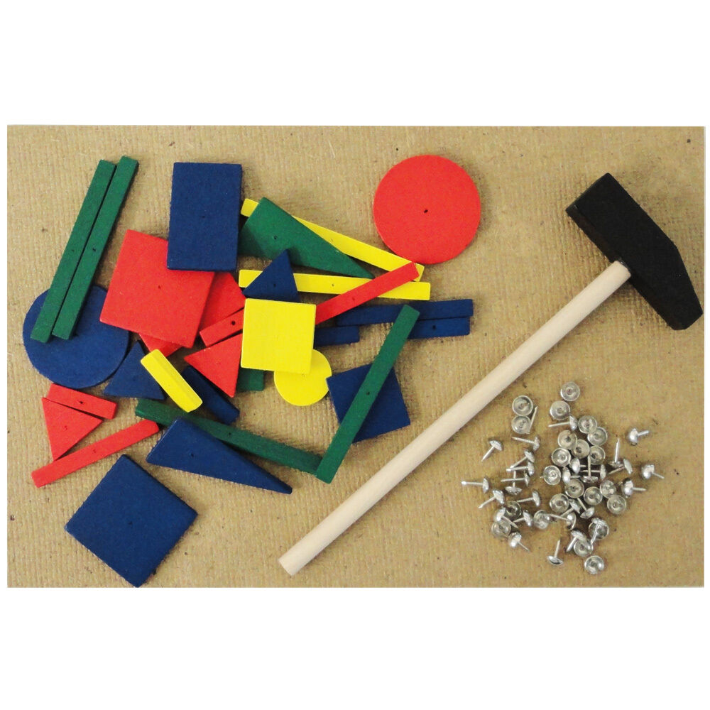 Hammer Game Toy : Hammer and nails tap art toy wooden shape