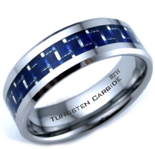 New Tungsten Carbide Blue Carbon Inlay Scratch Proof Mens Wedding Band Ring