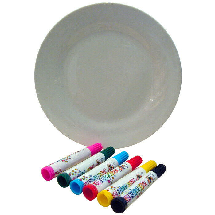 Create Your Own Plate Design Craft Kit - Childrens Porcelain Pen and ...