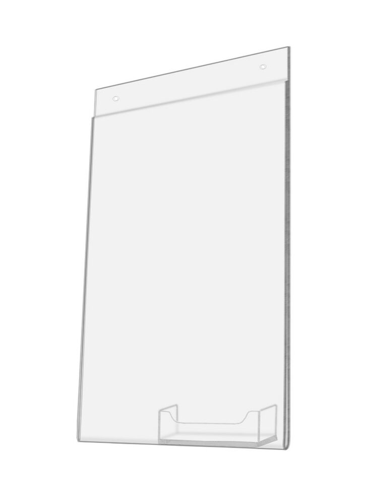 clear acrylic vertical 8 5 w x 11 h wall mount sign holder with business pocket ebay. Black Bedroom Furniture Sets. Home Design Ideas