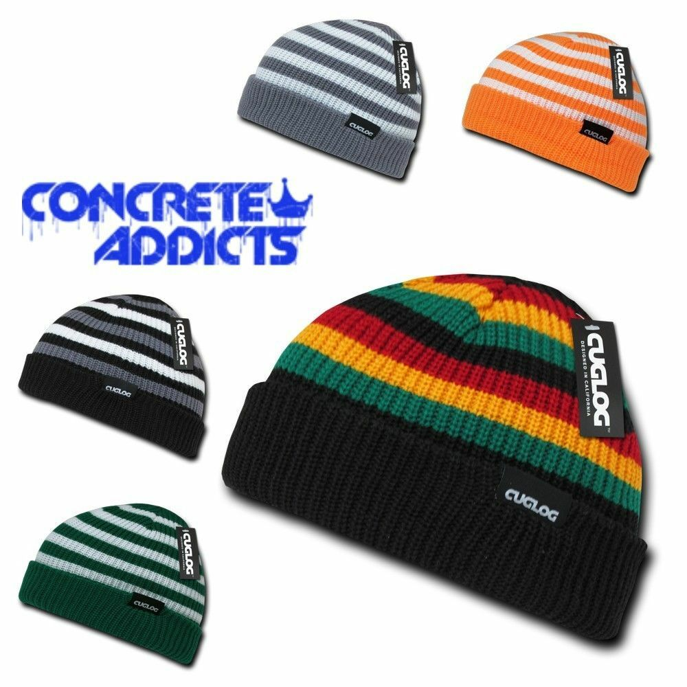 45bbbc08a83 Details about Cuglog Kilimanjaro Beanie - Jamaican Rasta Striped Knit 3 Tone  Skull Cap Hat new