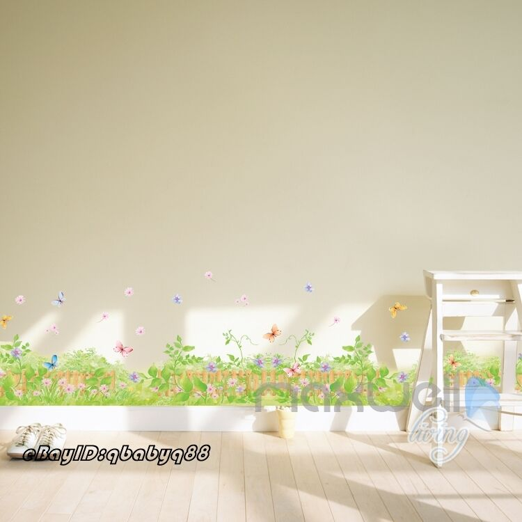 flower grass vine butterfly wall border decal removable home sticker