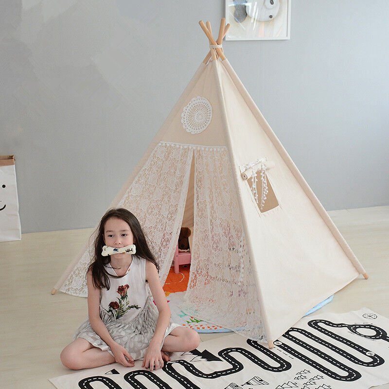 1000 Ideas About Girls Teepee On Pinterest: Large Lace Kids Boys Girls Beige Teepee Outdoor Tent W/ Cushioned Floor Mat