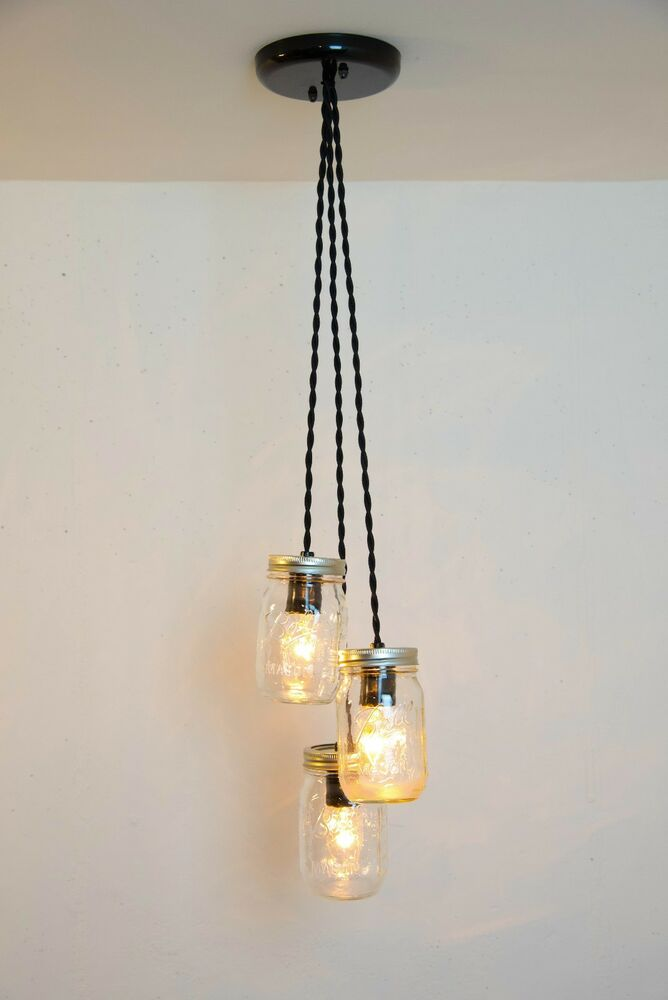 mason jar light fixture chandelier 3 clear jars pendant rustic industrial ebay. Black Bedroom Furniture Sets. Home Design Ideas