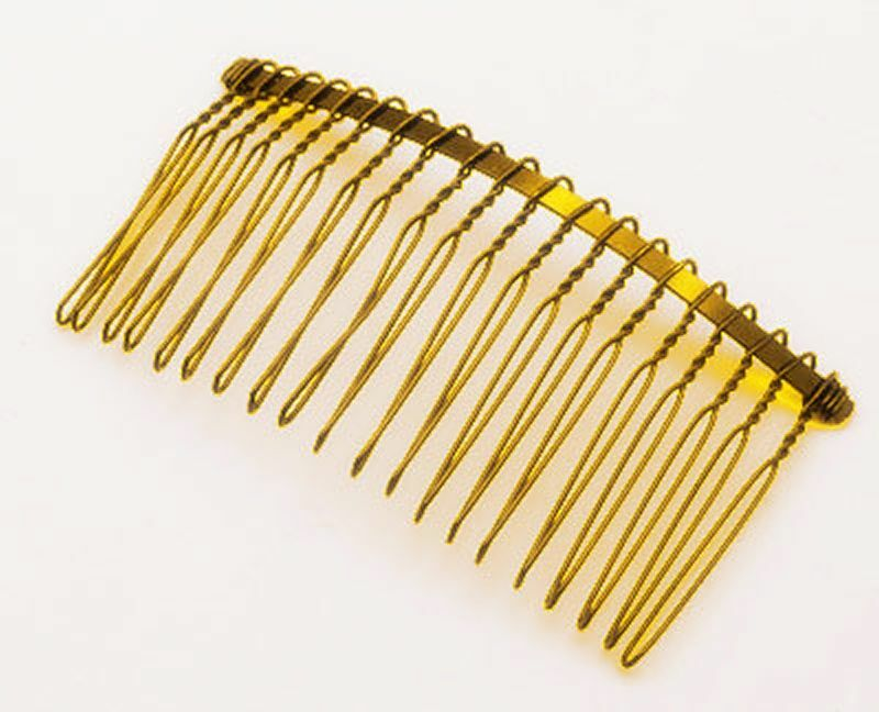 10 x 77mm x 38mm 20 teeth gold metal hair combs bridal for Metal hair combs for crafts