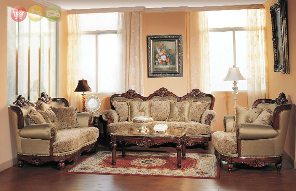formal antique sofa loveset chair 3 piece traditional style living