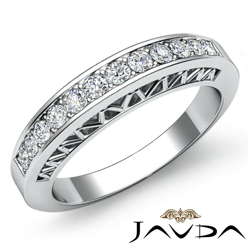 Womens half wedding band 18k white gold pave set diamond for Wedding band for engagement ring