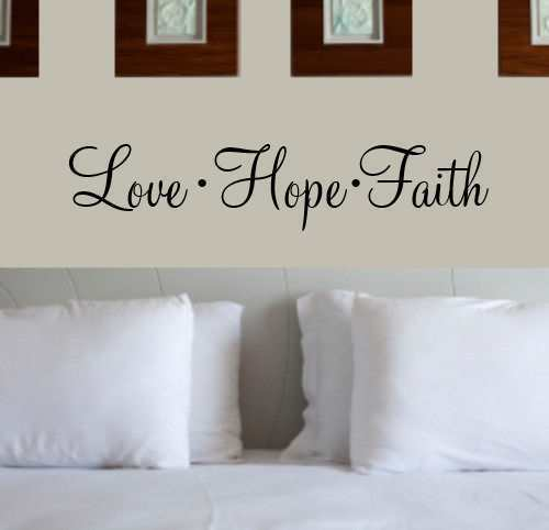 Vinyl Wall Art Love Quotes : Love hope faith quote vinyl wall art decal decor sticker