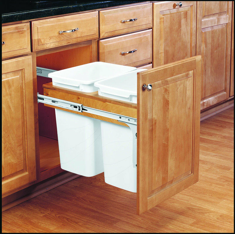 Double 35 qt top mount wood pull out trash containers rev for Double kitchen cabinets