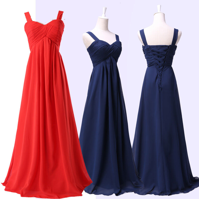Navy Blue/Red Long Chiffon Evening Party Ball Gown Prom Bridesmaid Women's Dress | eBay