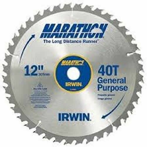 New irwin tools 14080 12 inch 40 teeth 1 inch arbor miter for 12 inch table saw blades