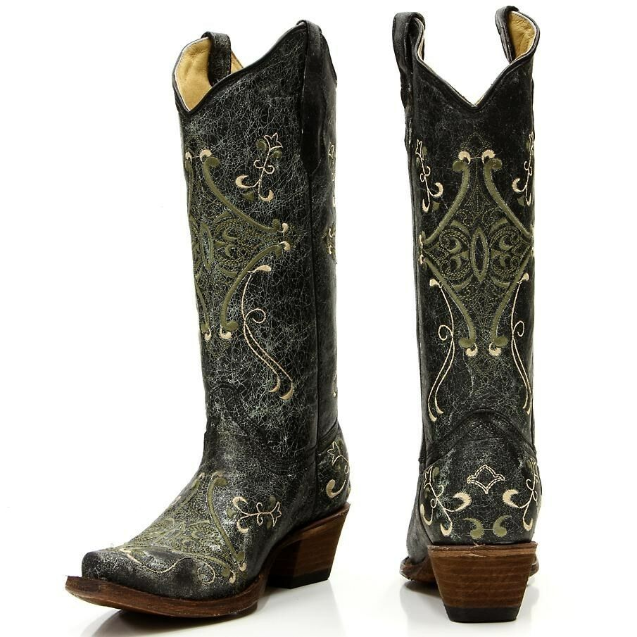 womens circle g boots corral western black green crackle