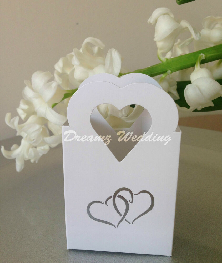 100 white wedding favour favor sweet candy cake gift boxes bags silver hearts ebay. Black Bedroom Furniture Sets. Home Design Ideas