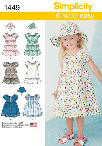 Sewing Pattern Make Toddler Girl Pullover Dress Hat Size