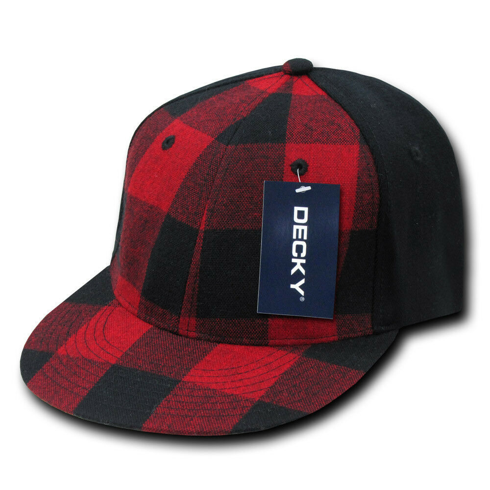 bb01a3a5a7f63 Details about Red Black Lumberjack Plaid 6 PANEL FLEX FITTED HAT Cap vtg  retro hunting NEW