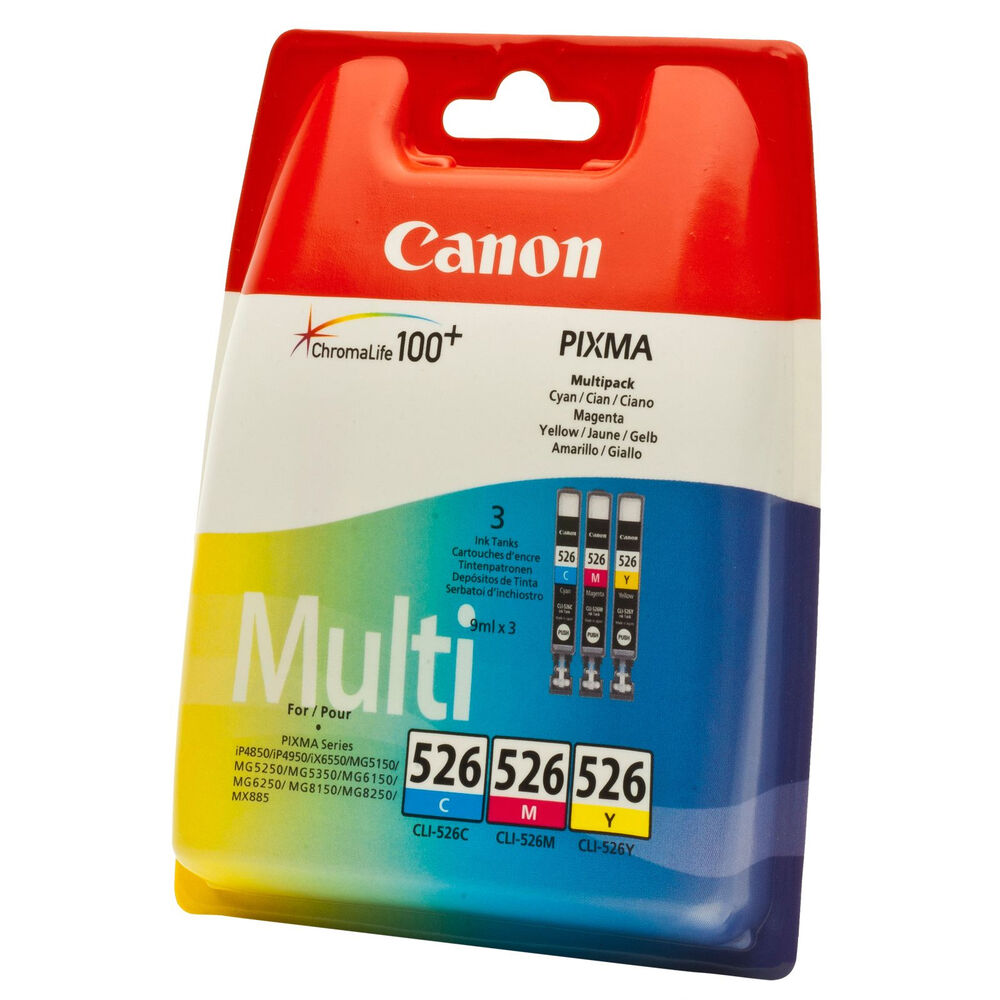 genuine oem canon 3 colour ink cartridge value pack cli 526 cyan magenta yellow ebay. Black Bedroom Furniture Sets. Home Design Ideas