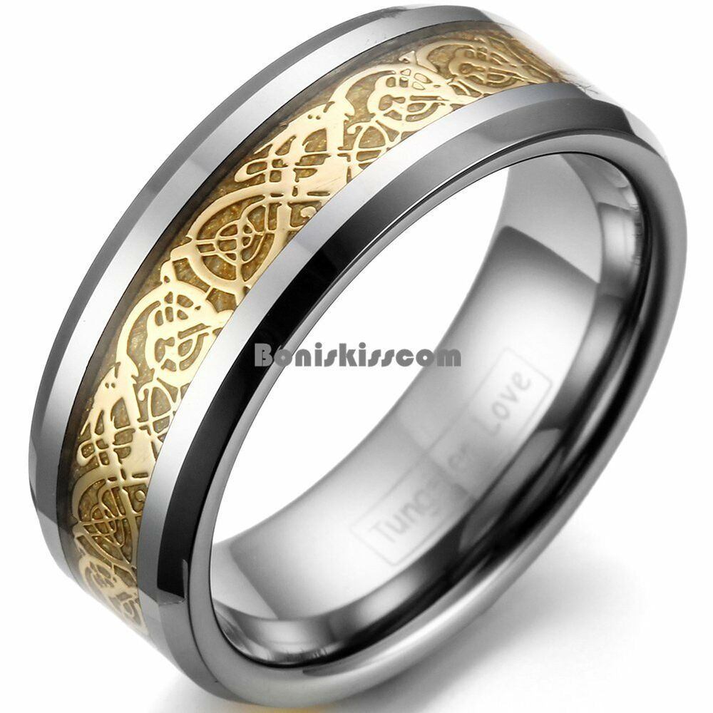 8mm Comfort Fit Men S Tungsten Carbide Band Gold Tone