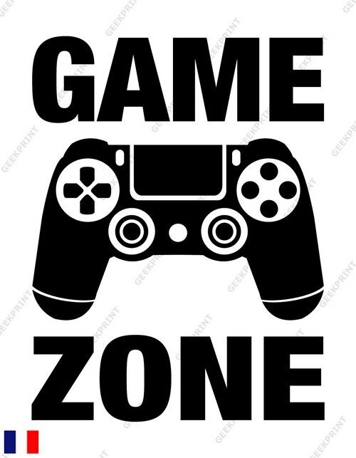 sticker autocollant porte game zone geek manette ps4 deco gamer jeux video ebay. Black Bedroom Furniture Sets. Home Design Ideas